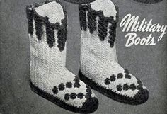Military Boots crochet pattern from Quick Crochet with Enterprise Yarn, Book No. 9305.