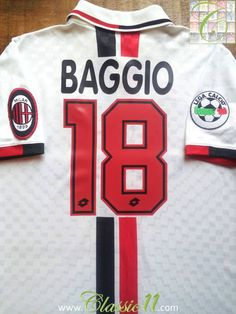 9b83b5dbde7 Relive Roberto Baggio s Serie A season with this vintage Lotto AC Milan  away football shirt.