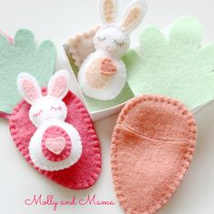 How would you like to stitch a gorgeous little chocolate-free Easter treat for the special little people in your life? The BITTY BUNNIES are the latest Molly and Mama felt design. Sew the tiny bunnies and their carrot sleeping bags in just a few hours. Make the little carrot into a necklace, set your bunny up in a matchbox bed, or create sweet little Easter Tree decorations. This PDF sewing pattern gives you step by step instructions and the pattern template so you can hand stitch up this…