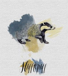 Hufflepuff badger - watercolour inspo for more artistic tattoos.