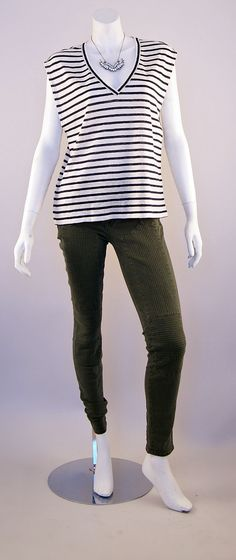 Alice + Olivia Striped Tee and J Brand Roz Stitched Skinny Jeans