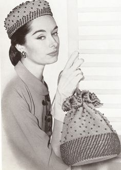 Vintage 1950's Beaded Hat & Drawstring Bag Crochet Patterns