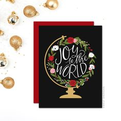 Christmas Cards Boxed Set / Holiday Card Set / Joy to the World / Religious/ Globe / Hand Lettered by WestSheridan on Etsy https://www.etsy.com/listing/208210770/christmas-cards-boxed-set-holiday-card
