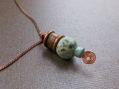 African turquoise and copper necklace by SunshinesPush on Etsy, $23.00