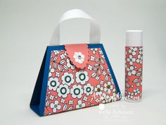 How fun is this??? I'm so excited about this cute little purse!!! I have all the details with a template, matching card and more photos on my blog. Click to see them. www.AStampAbove.com