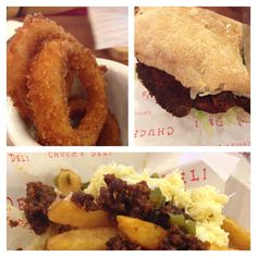 Onion Rings, The Buffy and Chili Fries from Chuck's Deli.