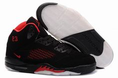 Air Jordan 5 V Retro Embroidery Black Fire Red Shoes $95.99