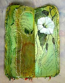 'Wildflowers/Weeds' Art Journal Spread with Illustration and Stitch by Frances Pickering Kunstjournal Inspiration, Art Journal Inspiration, Art Journal Pages, Journal 3, Art Doodle, Fabric Journals, Art Journals, Fabric Art, Fabric Books