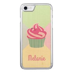 #Cute Pink Cupcake and Pastel Colors Carved iPhone 8/7 Case - #cute #pink #sweet #custom