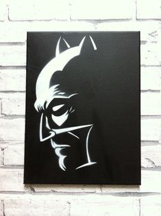 Stencil painting of Batman. White paint on a black background a powerful combination. Canvas is 12 inches by 16 inches. Batman Painting, Batman Artwork, Stencil Art, Rock Art, Art Lessons, Painting & Drawing, Decoupage, Art Drawings, Art Projects
