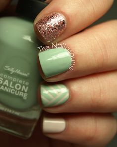 'Simplicity Is The Ultimate Sophistication' -- Base Colors: Sally Hansen - Crinoline (cream), Sally Hansen - Green Tea (green); Glitter: Sally Hansen - Gem Crush Razzle Dazzler ~~~ #nailasaurus