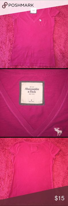 Abercrombie & Fitch Vneck Top Super cute Hot Pink Abercrombie & Fitch Vneck Top! In perfect condition no rips or stains! Abercrombie & Fitch Tops Tees - Short Sleeve