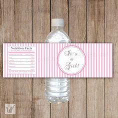 INSTANT DOWNLOAD Baby Shower Water Bottle Labels por pinkthecat