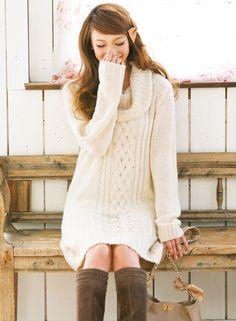 ガーリーに着れる白ニットワンピは一着は持ってたいアイテム♡秋冬ファッションの参考にしたいワンピースコーデ♡
