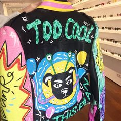 TOO COOL FOR THIS PLAN #fun #jacket #collection by #yuhustore #barcelona #elborn // #enjoy #punk #rock #leatherjacket #painted #colorful #funny #intergalactic #forhumans #dog #ufo #picoftheday #photoofthedat #instacool #instadaily #instafashion #cool #style #fresh #ootd #costabrava #girona #platjadaro