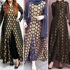 Can be stitch according to ur measurements. Color can be change. We deliver worldwide! Jamawar Dresses, Indian Attire, Indian Wear, Indian Suits, Sneakers Fashion, Fashion Outfits, Dress Fashion, Hijab Fashion, Fashion Ideas
