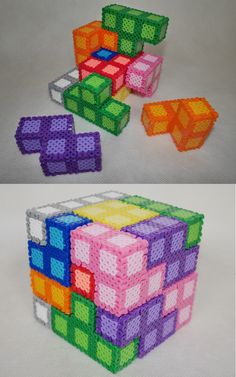 Oh my gosh what an amazing use of Perler Beads...a tetris puzzle.  #crafts #perlerbeads #tetris