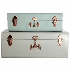 metal storage trunk with copper detail by idyll home ltd | notonthehighstreet.com