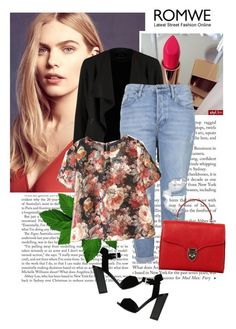 """""""Floral T-shirt. ROMWE."""" by car69 ❤ liked on Polyvore"""
