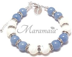 Air Element Angelite and Mother of Pearl Sterling Silver Bracelet.  * Calming * Serenity * Inner Peace * Sincerity * Protection.