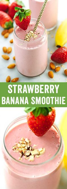 Strawberry Banana Smoothie with Almond Milk - Don't skip breakfast! With fruit, oats, yogurt, and almonds, this on-the-go healthy smoothie recipe will keep you energized when you need it. via @foodiegavin