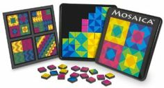 "Orb Factory Mosaica by The Orb Factory. $8.19. Insert with suggested patterns. No tools required. 64 colorful 3/4"" square tiles. Travel tin. Great travel toy. From the Manufacturer                From ancient Greece and Rome to modern times, artists have been using simple tile sets to create beautiful and intriguing patterns. Using only 64 square tiles, Mosaica will unlock your hidden creativity, and inspire you to create colorful works of art.                               ..."