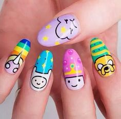 40 favorite nail art designs for Christmas # nails acrylic nails Related posts: The cutest and festive Christmas nail designs to … Trendy Nail Art, Cute Nail Art, Cute Nails, Adventure Time Nails, Kawaii Nail Art, Anime Nails, Crazy Nails, Crazy Nail Art, Disney Nails