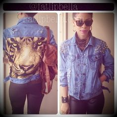 Denim jean jacket distressed tiger back with spikes by FatLipBella, $75.00