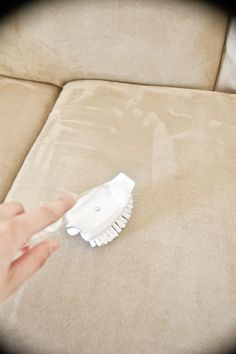 How to clean a microfiber couch. Not only do my couches look AMAZING they are sanitized! Alcohol (rubbing), white sponge, spray bottle, and white bristle brush