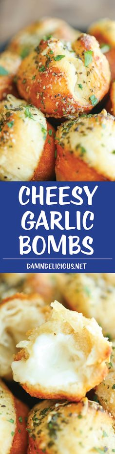 Cheesy Garlic Bombs - Mini garlic bread bites slathered in buttery goodness and stuffed with melted mozzarella cheesiness. So good and irresistible!