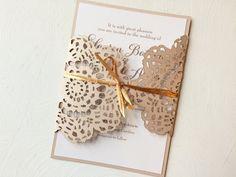 Laser Cut Lace Metallic Blush Champagne Wedding Invitation Custom Colors Available