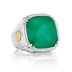 An oversized clear quartz over natural green onyx stone is the focal point of this statement ring. From every angle, it displays Tacori's iconic crescent design and detailing. The Tacori gem seal is placed on the right side to give a touch of yellow gold to the ring.