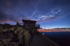 Twilights Embrace  Twilight sets in at the Watchman fire lookout at Crater Lake…
