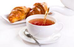 Wallpaper breakfast, tea, cup, croissant