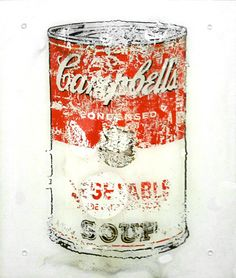 """[Warhol vs Water/Akira Fujimoto] Akira Fujimoto uses water to dissolve the print of Campbell's Soup (VEGETABLE) by Andy Warhol , a symbol of pop art. This is the way of contemporary art expression that substitute a color and drawing, which are basic two elements of painting, for a symbol and chemical reaction. One of the """"RECODE 01: Icon"""" series that is an attempt to symbolize an iconic object into something new."""