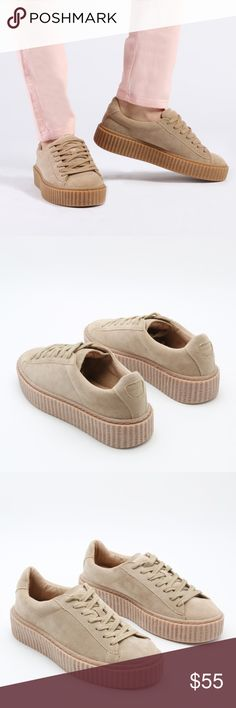 Beige Faux Suede Creepers Give your look a fresh edge with these trendy creepers. Wear them with your boyfriend jeans and bomber jacket. Not Nasty Gal.   This item may or may not include a tag. ALL items sold from my closet are EITHER brand new, unused and directly from the manufacturer. Nasty Gal Shoes