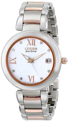 Citizen Women's EO1116-57A Marne Signature Eco-Drive Diamond Dial Two Tone Watch * You can find more details by visiting the image link.