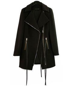 Black Coat with Fringe Zip Detail