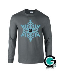 SALE! Charcoal Snowflake Printed Shirt with Monogram or Greek Letters (Sorority or Fraternity) -- Great for the Winter season!! by GoneGreek on Etsy