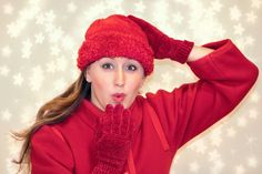 Blowing Kiss, Woman, Red, Cold, Winter, Christmas, Xmas