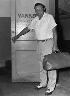 New York Yankees Babe Ruth walks out the door.  (Sporting News Archives)