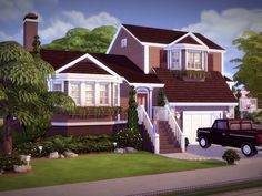 """sssvitlans: """" Created By Elmhill - NO CC! Created for: The Sims 4 Comfortable split-level home featuring 3 bedrooms, baths, kitchen, separate dining, beautiful living room with lots. Sims 2 House, Sims 4 House Plans, Sims 4 House Building, Sims 4 House Design, Building For Kids, Building Ideas, The Sims 4 Lots, Casas The Sims 4, Sims 4 Build"""