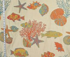 Reef fabric tropical fish coral seashells orange from Brick House Fabric: Novelty Fabric