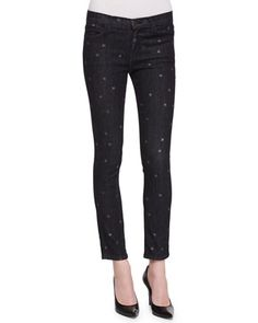 Star-Print Stiletto Skinny Jeans, Washed Black by Current/Elliott at Neiman Marcus.