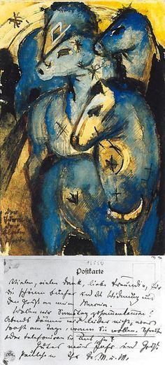 Postcards by Franz Marc, 1913.  The Tower of Blue Horses , to Else Lasker-Scüler in Berlín