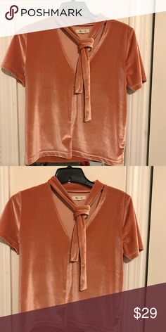 Madewell Pink Velvet/Velour Top It's barely worn and still in trend. I just didn't fit into the style well so I want to sell! Price negotiable! Madewell Tops