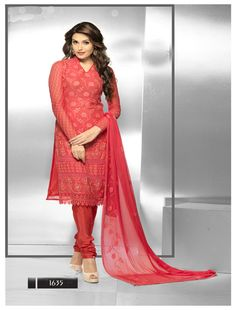 THANKAR LATEST EMBROIDERED DESIGNER RED STRAIGHT SUITS