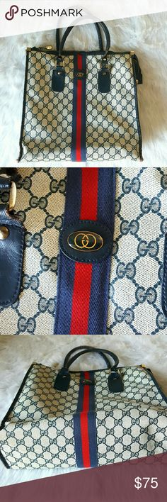Vintage Gucci Tote Vintage Gucci Tote - gray waxed monogram canvas with signature striped webbing. Navy trim and velvet lining. The canvas is in good condition. Leather handles and trim are worn throughout and can be repaired at a cobbler or other leather craftsman. Gucci Bags Totes