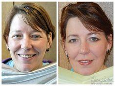 """links: Regina ungeschminkt. Die #Farb-Analyse ergab, dass kalte Farben für sie unvorteilhaft sind. rechts: 10 Minuten Zeitaufwand für das Make-Up, die Haare kurz mit den Händen gestylt und ganz wichtig """"warme"""" Farbtöne. #Farbberatung #Stilberatung #Make-Up #Styling"""