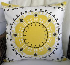 Designer Decorative Pillow Cover - Medallions - Dwell Studio for Robert Allen - Yellow, Brown, Gray